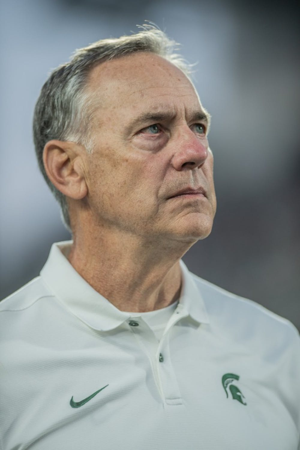 <p>Head Coach Mark Dantonio is honored for his 110 wins after the homecoming game against Indiana on Sept. 28, 2019 at Spartan Stadium. The Spartans beat the Hoosiers, 40-31.</p>