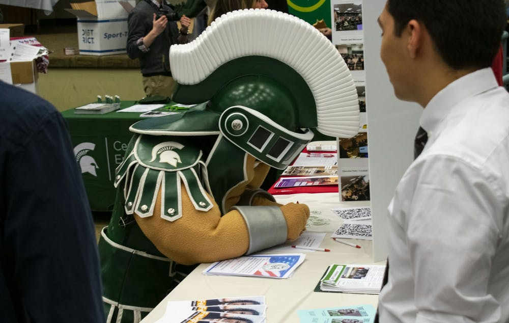 <p>Sparty attended the Absentea Party hosted on Feb. 11, 2020 in the Erickson Kiva, in which he danced with fellow students and faculty. </p>
