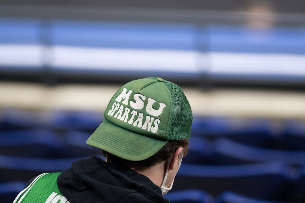 <p>MSU fans attend the Big Ten basketball tournament for their first game against Maryland on March 11, 2021.</p>