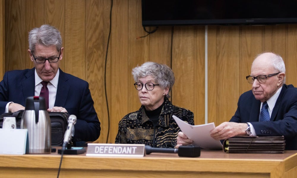 From left to right, Lee Silver, former Michigan State University President Lou Anna K. Simon and Mayer Morganroth during Simon's arraignment at the Eaton County Courthouse on Nov. 26, 2018. She is being charged with four counts of lying to a Peace Officer about the Nassar Investigation.