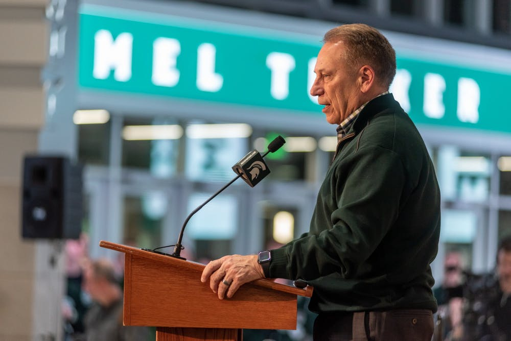 <p>Head basketball coach Tom Izzo speaks at the introductory press conference for new head football coach Mel Tucker at the Breslin Student Events Center on Feb. 12, 2020.</p>