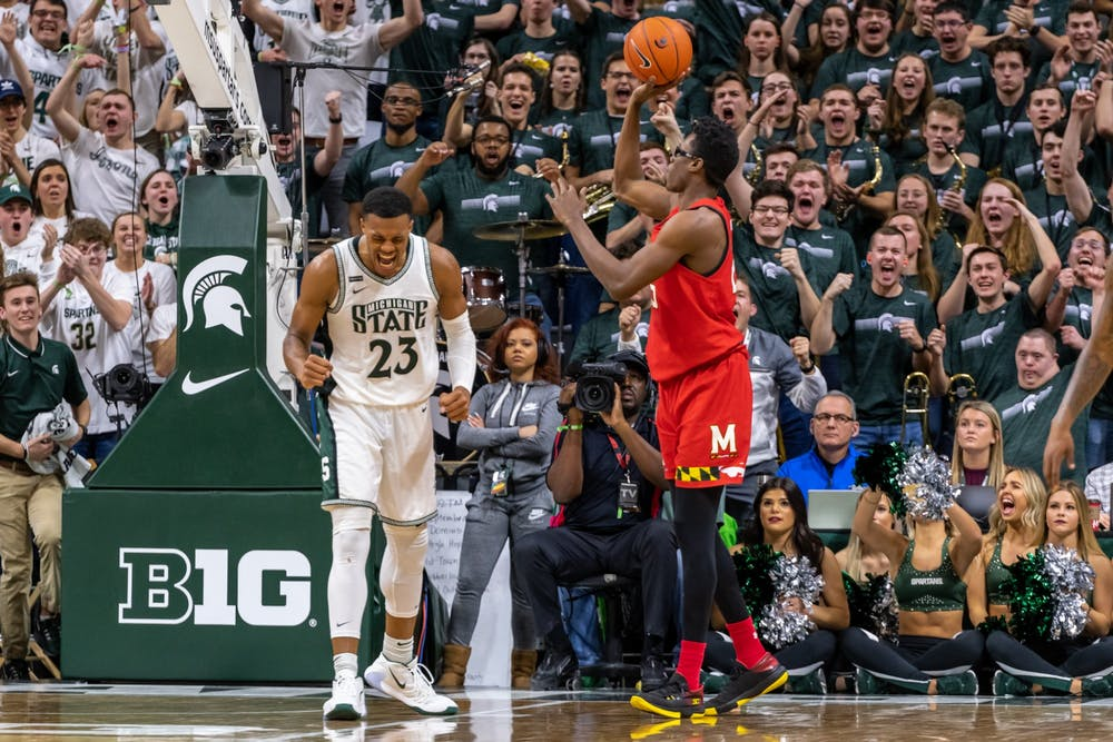 <p>Junior forward Xavier Tillman (23) celebrates after an offensive foul is called against Maryland. The Spartans fell to the Terrapins, 60-67, at the Breslin Student Events Center on Feb. 15, 2020. </p>