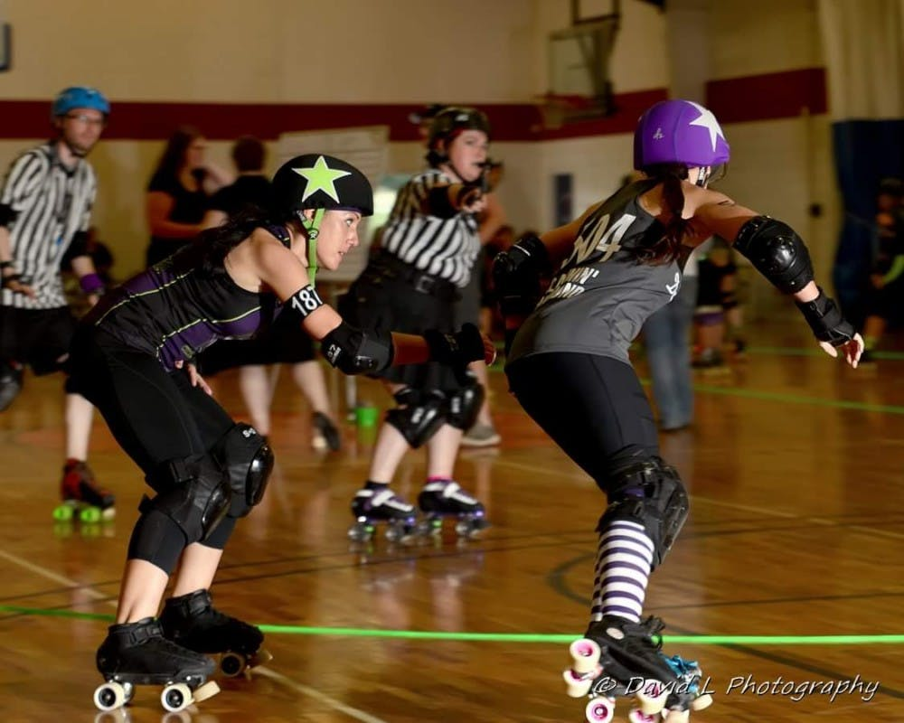 <p>The East Lansing Mitten Mavens are a women's roller derby group based in East Lansing. Photo courtesy of East Lansing Roller Derby.&nbsp;</p>