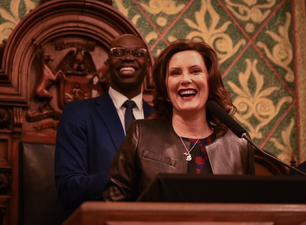 Michigan Governor Gretchen Whitmer during her State of the State address at the Michigan State Capitol building in Lansing on January 29, 2020.