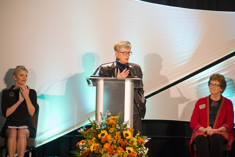 MSU president Lou Anna K. Simon gives thanks for her induction into the Hall of Fame on Oct. 19, 2016 at Kellog Center in East Lansing. The event was put on for all of the newest members of the Michigan Women's Hall of Fame. Lets was the first African-American teacher in the Lansing School District.