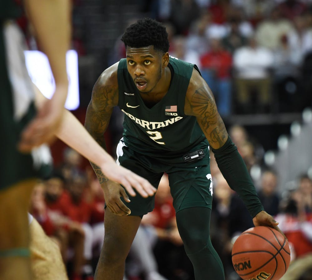 <p>Freshman guard Rocket Watts (2) stares down a defender during the basketball game against Wisconsin at the Kohl Center in Madison, Wisconsin on Feb. 1, 2020. The Spartans fell to the Badgers, 63-64.</p>