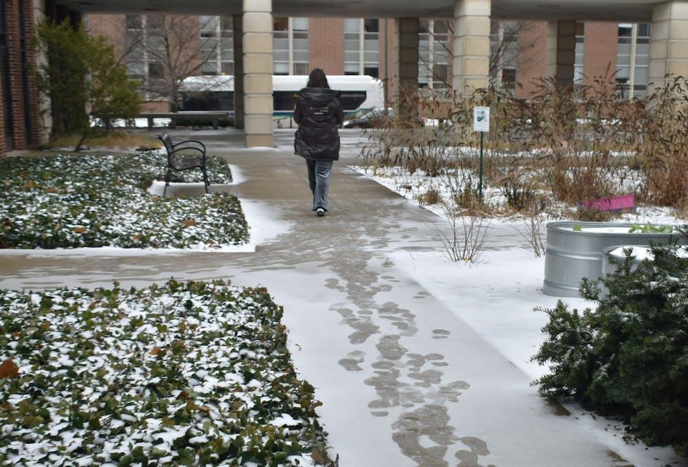 A student walks along the snowy sidewalks outside Kedzie Hall on January 13, 2019.