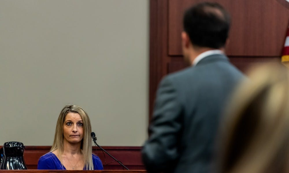 <p>Defense attorney John Dakmak questions Dr. Nicole Eastman during the trial of Dr. William Strampel, former dean of the MSU College of Osteopathic Medicine, at the Ingham County Circuit Court on June 4, 2019.</p>