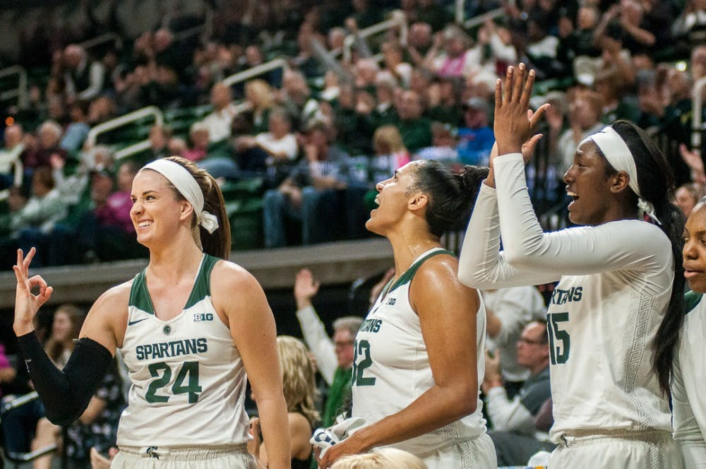 Spartans cheer on their teammates during the game against Nebraska on Feb. 14, 2017 at Breslin Center. The Spartans led 40-38 at halftime.