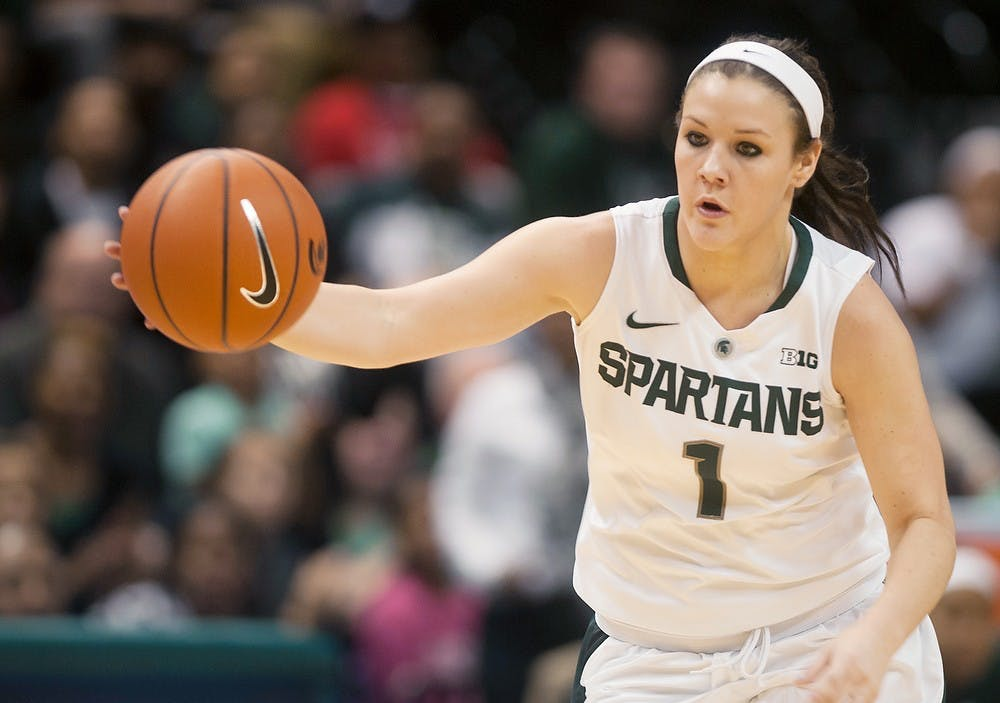 """<p>Freshman guard Tori Jankoska dribbles the ball Dec. 1, 2013, at Breslin Center. <span class=""""caps"""">IPFW</span> defeated <span class=""""caps"""">MSU</span>, 81-74. Margaux Forster/The State News</p>"""