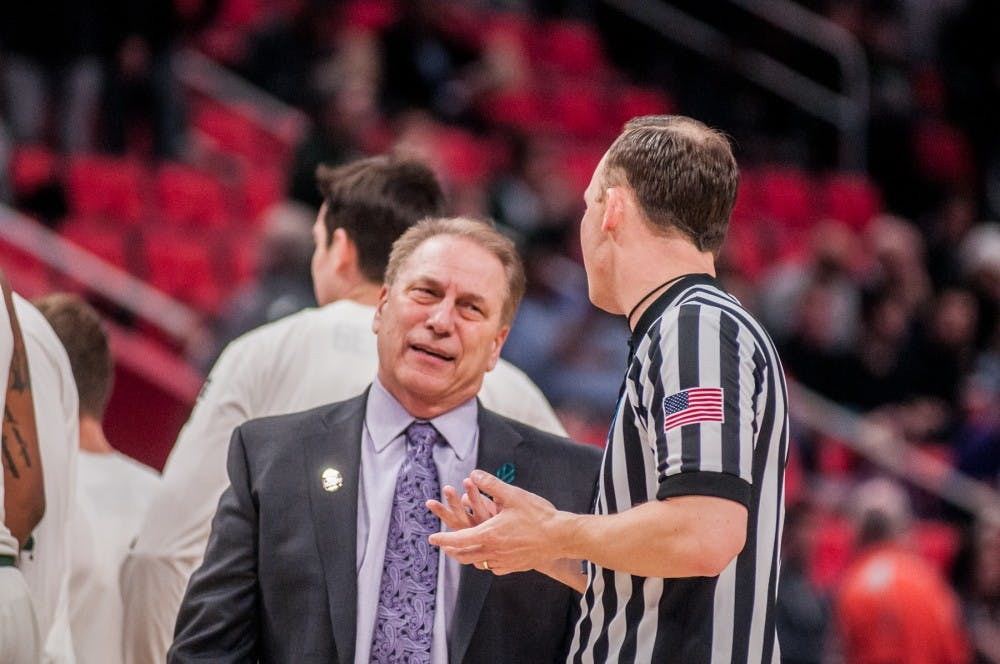 <p>Head coach Tom Izzo reacts to the referee during the game against Bucknell on March 16, 2018 at Little Caesars Arena in Detroit. The Spartans defeated the Bison 82-78.</p>