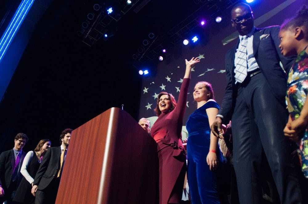 Governor-elect Gretchen Whitmer waves to the crowd during her acceptance speech during the Democratic Watch Party at the Motor City Casino on Nov. 6, 2018.