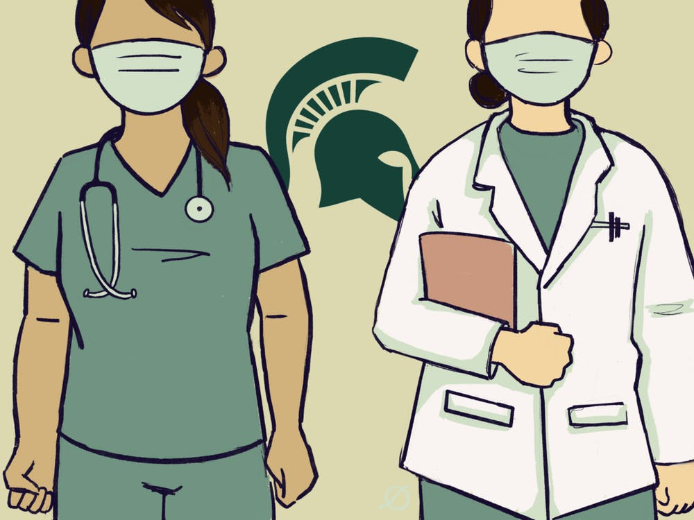 <p>Illustration of two people in the medical field, by Daena Faustino.</p>