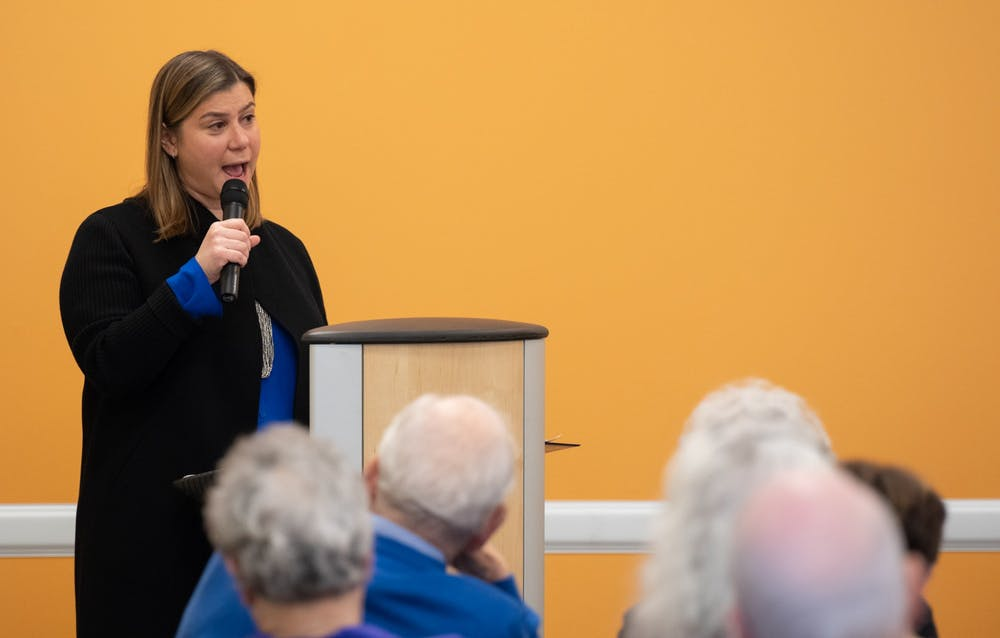 U.S. Rep. Elissa Slotkin speaks out about recent anti-Semitic activity in East Lansing at the East Lansing Public Library on Feb. 23, 2020.