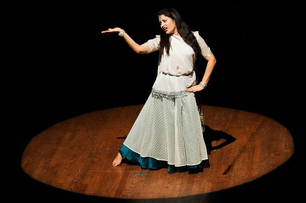 """<p>Political science and pre-law senior Vinita Desai dances during Sargam 2012 on Sunday, Nov. 18, 2012, at Wharton Center. For this year&#8217;s Sargam event, the <span class=""""caps"""">MSU</span> Indian Students Organization performed its rendition of Ramayana, an ancient Indian epic. James Ristau/The State News</p>"""