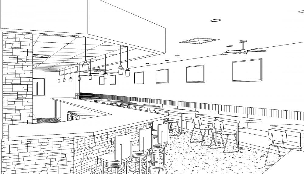 <p>This graphic shows details of plans for the current Stateside Deli, 313 E. Grand River Ave. Plans include different lighting and other interior design changes. The work has yet to start.</p>
