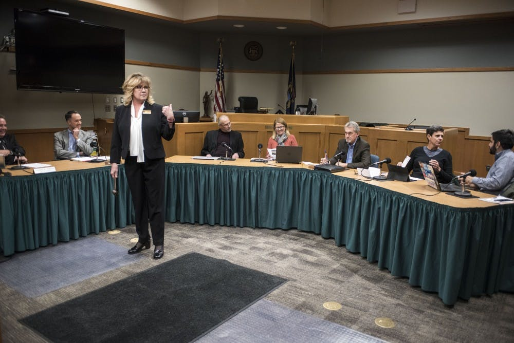 The East Lansing City Council on Nov. 21, 2017 at the 54B District Court.