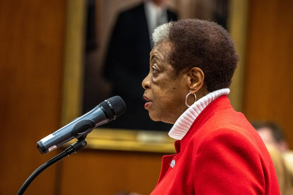 <p>President of the Michigan State University Black Faculty, Staff and Administrators Association Eunice Foster speaks at the Board of Trustees Meeting on Dec. 13, 2019.</p>