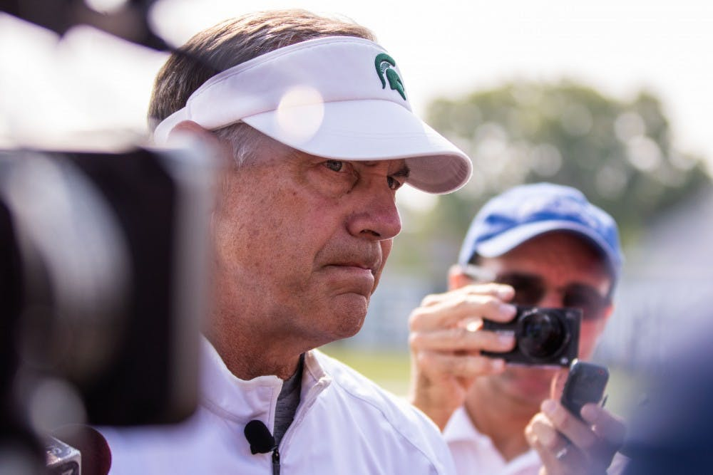Head coach Mark Dantonio answers questions from the media on Aug. 14 at Duffy Daugherty Football Building.