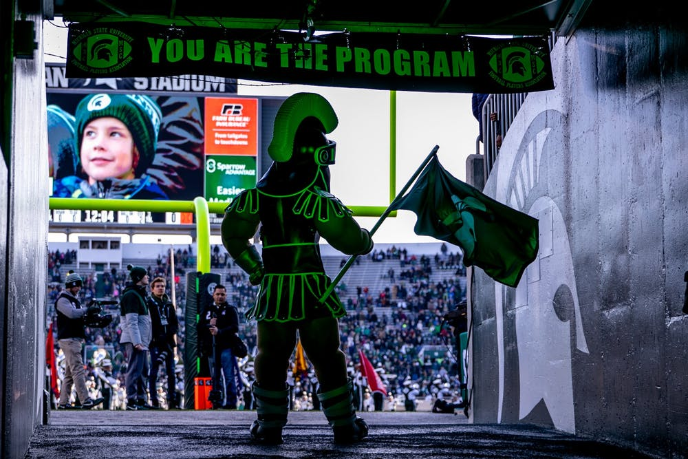 <p>Sparty stands in the tunnel before the game against Illinois on Nov. 9, 2019, at Spartan Stadium.</p>