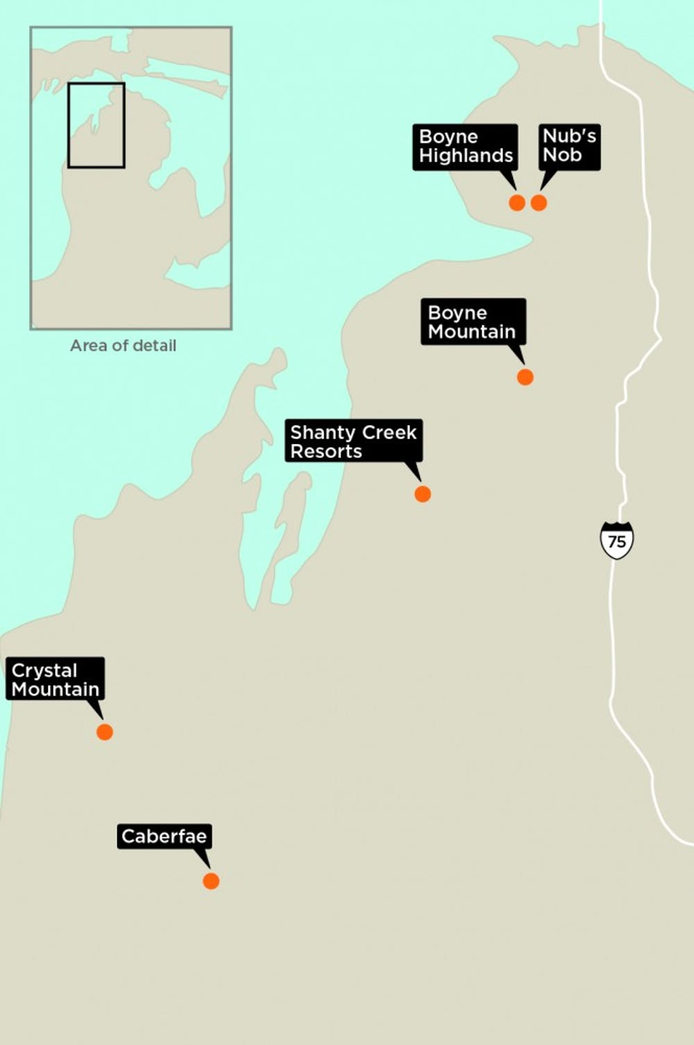 <p>Places to ski and snowboard in Michigan. </p>
