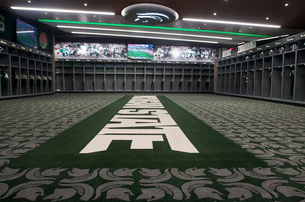 <p>A new locker room at Spartan Stadium on Aug. 25, 2014. The $24 million renovation includes new locker rooms, a media center, a training room and a recruiting lounge. Aerika Williams/The State News</p>