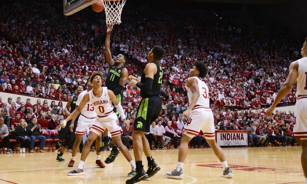 Freshman forward Aaron Henry (11) makes a shot during the game against Indiana at the Bloomington Assembly Hall Mar. 2, 2019. The Spartans fell to the Hoosiers, 63-62.