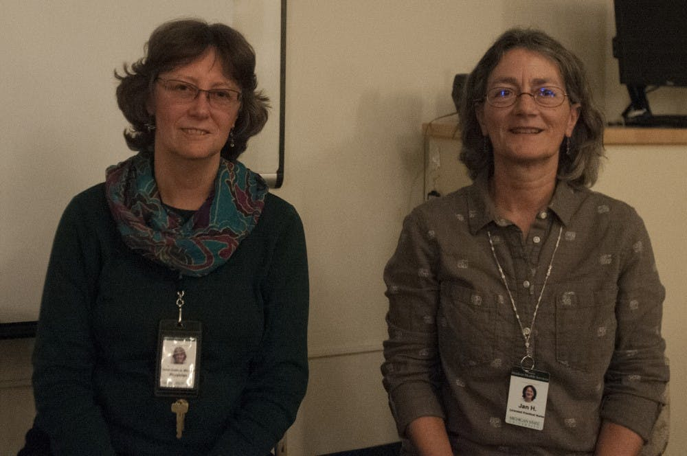 From left, Dr. Debra Duxbury and Jan Hettich, LPN, pose for a portrait on Oct. 26, 2016 at Olin Health Center.  The two are teachers of KORU Mindfulness sessions at Olin.  The course teaches mindfulness, meditation, and stress management to college students and young adults.