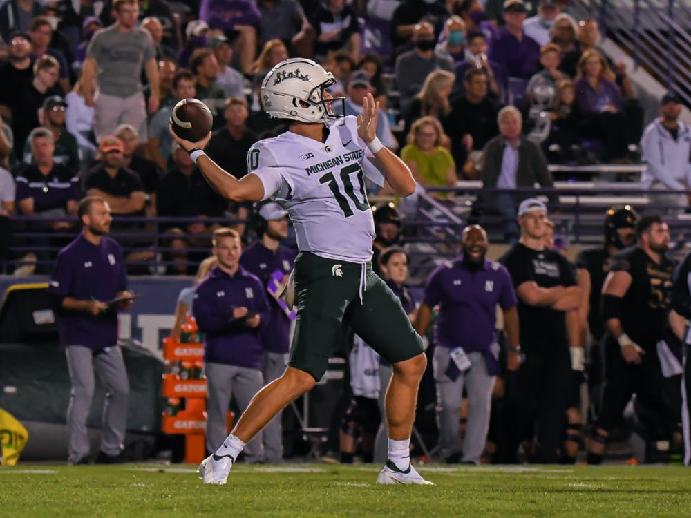 <p>Redshirt sophomore Payton Thorne throws a pass during the Spartans game against Northwestern. Michigan State won the season opener at Ryan Field 38-21, on Sept. 3, 2021.</p>