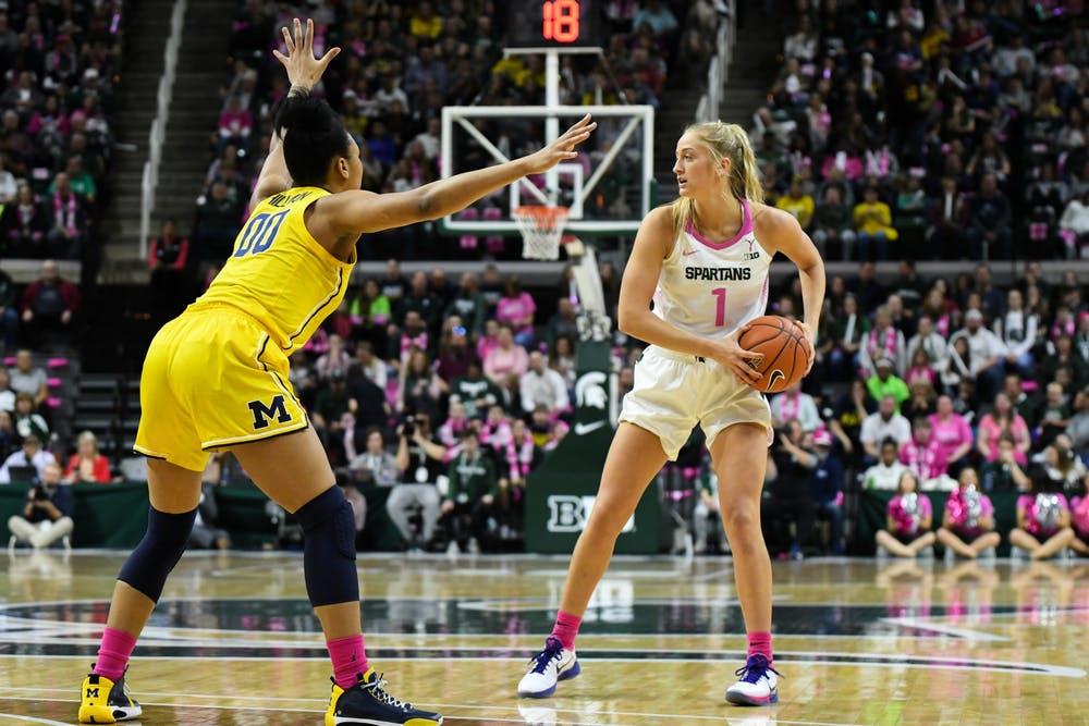 <p>Sophomore guard Tory Ozment (1) looks to pass during the women&#x27;s basketball game against Michigan at the Breslin Center on Feb. 23, 2020. The Spartans fell to the Wolverines 65-57. </p>