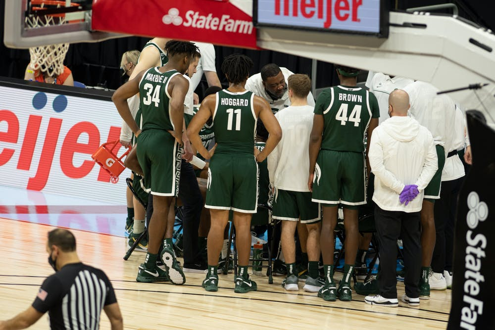 <p>The MSU basketball team gathers during a timeout in the Big Ten basketball tournament during a game against Maryland on March 11, 2020.</p>