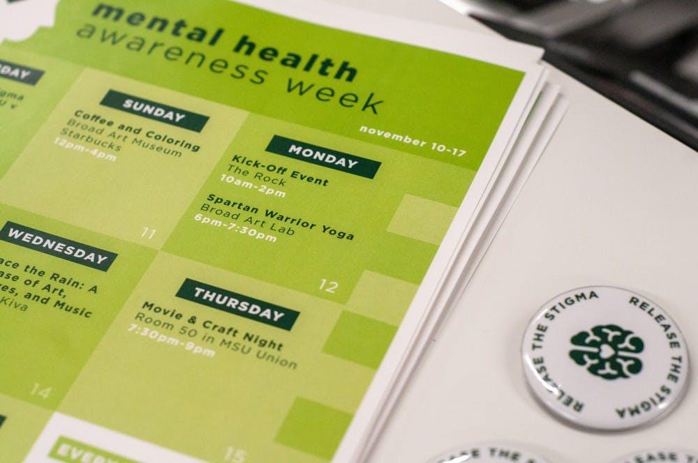<p>A calendar of the ASMSU Mental Health Awareness week is displayed on Nov. 12, 2018 at the Broad Art Lab.</p>