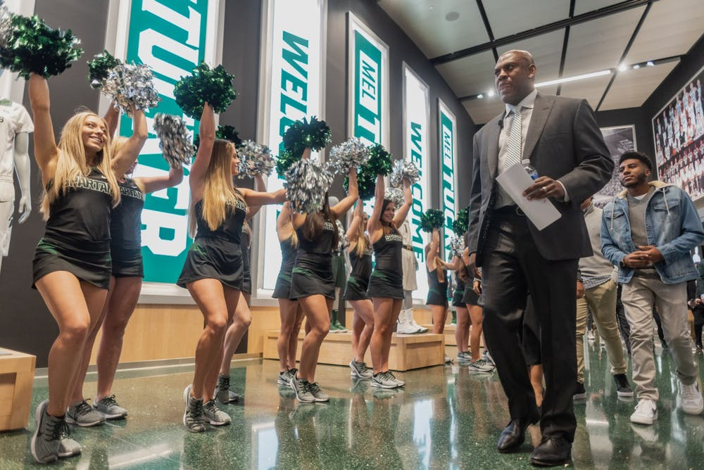 <p>New head football coach Mel Tucker arrives at his introductory press conference at the Breslin Student Events Center on Feb. 12, 2020.</p>
