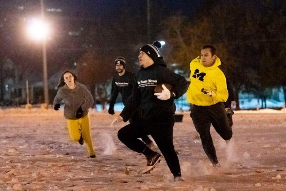 <p>Culture editor Devin Anderson-Torrez at least year&#x27;s State News-Daily touch football game. Photo by Wesley Herold.</p>