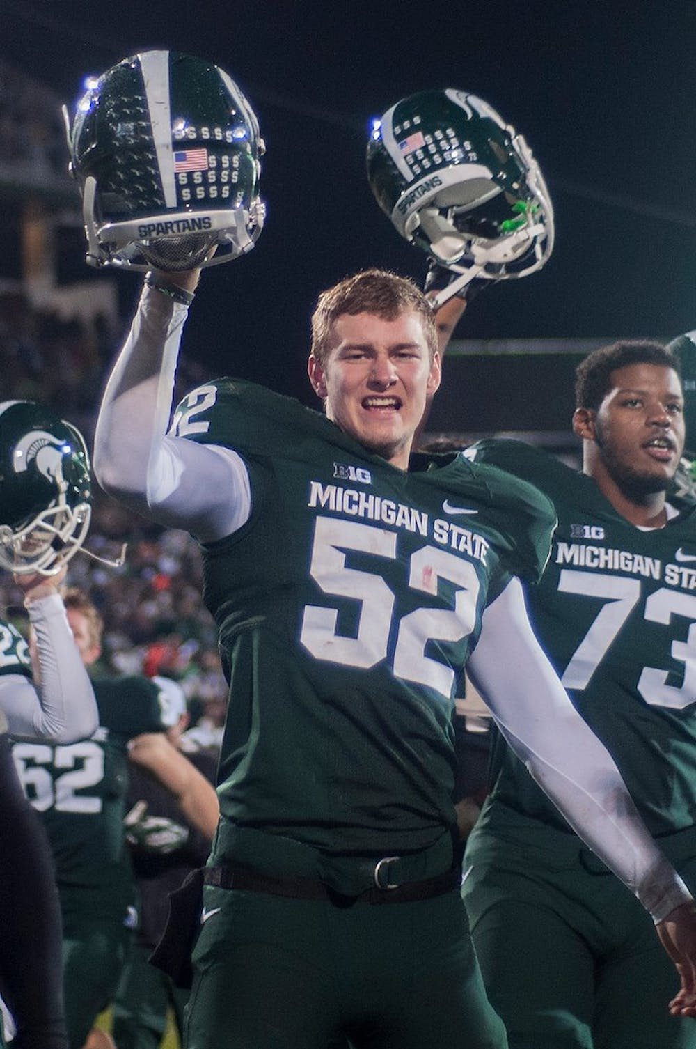 "<p>Sophomore snapper Taybor Pepper celebrates at the end of the game against Michigan on Nov. 2, 2013, at Spartan Stadium. <span class=""caps"">MSU</span> defeated the Wolverines, 29-6. Danyelle Morrow/The State News</p>"