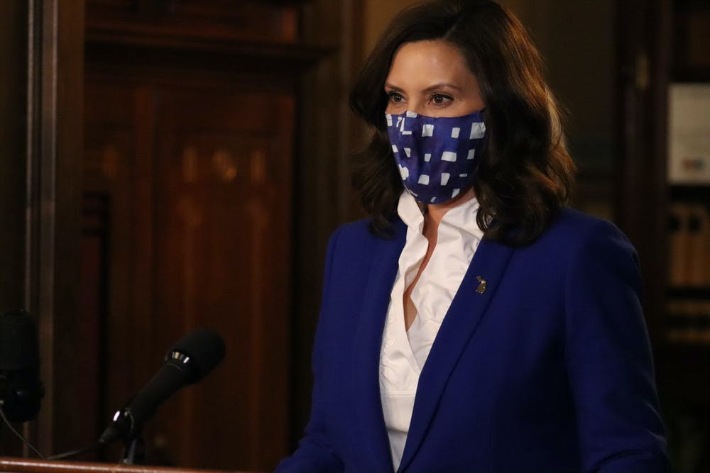 <p>Michigan Gov. Gretchen Whitmer speaks at a press conference for a COVID-19 update on Nov. 19, 2020. Courtesy of Michigan Executive Office of the Governor</p>