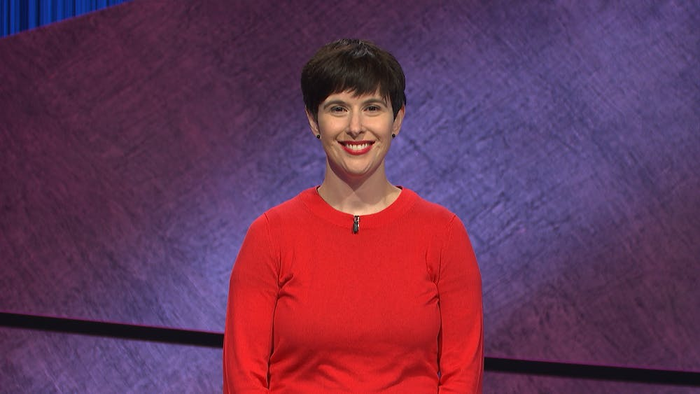 <p>Laura Portwood-Stacer on &quot;Jeopardy&quot; on Monday, March 8, 2021. (Photo courtesy of Jeopardy Productions, Inc.)</p>
