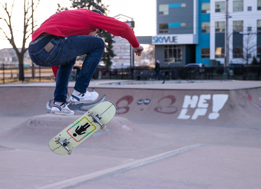 A man skates on St. Patrick's Day 2020 in Frandor Skate Park despite the recent coronavirus outbreaks.