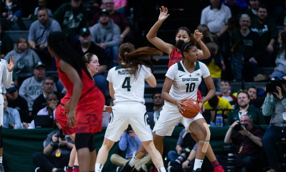 <p>Sophomore forward Sidney Cooks drives to the basket during the game against Maryland at the Breslin Center on Jan. 17, 2019. The Spartans defeated the Terrapins, 77-60.</p>