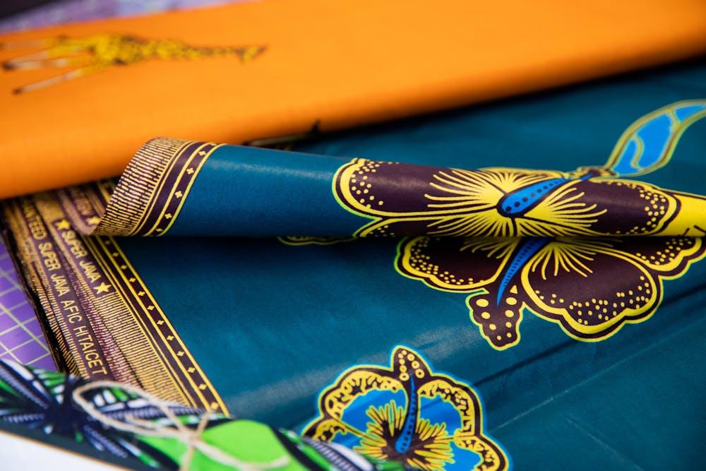 <p>Ankara print fabric sold at Seams Fabric in East Lansing on Thursday, Feb. 11, 2021.</p>