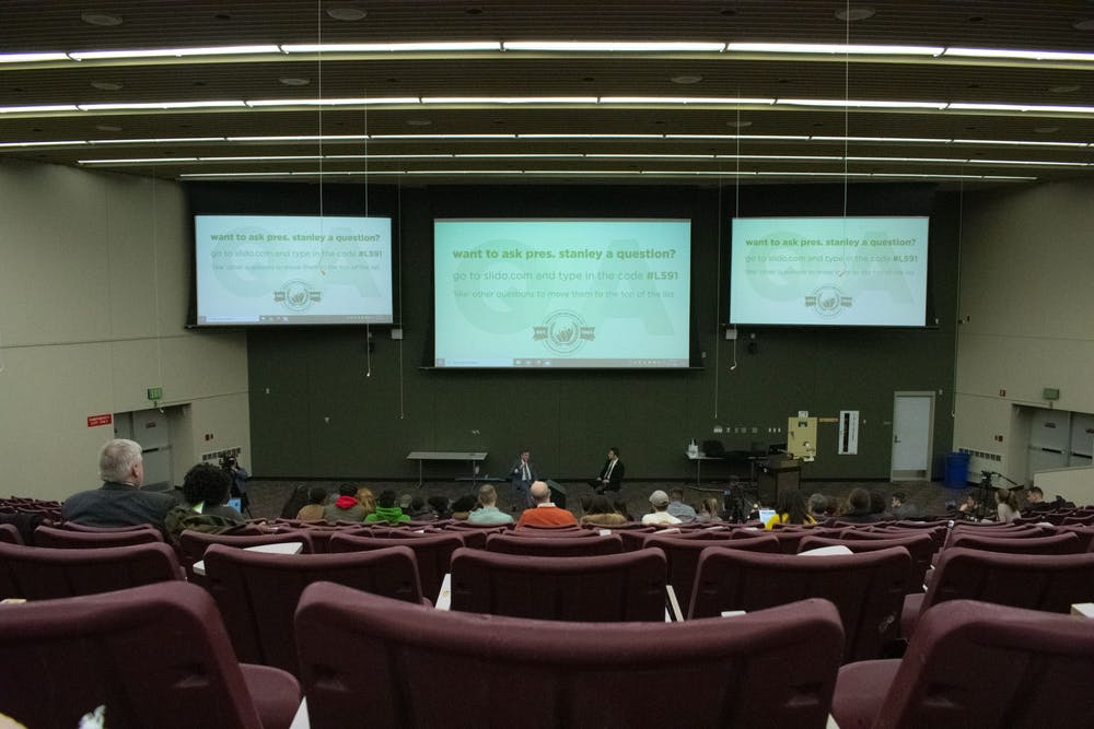 <p>Students gathered to ask President Stanley questions about university related topics during the Ask Stanley Q&amp;A hosted in the Business College Complex on Feb. 18, 2020.</p>
