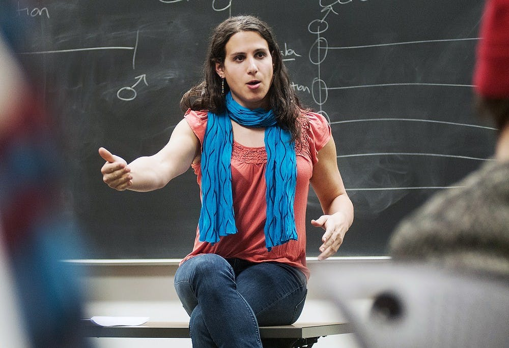 <p>Transgender artist Rebecca Kling discusses exploring gender and identity during a workshop on Jan. 22, 2013, at Snyder Hall. About 10 students and faculty members attended the workshop. Julia Nagy/The State News</p>
