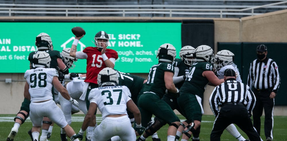 Quarterback Anthony Russo (15) prepares to throw the ball on April 24, 2021.