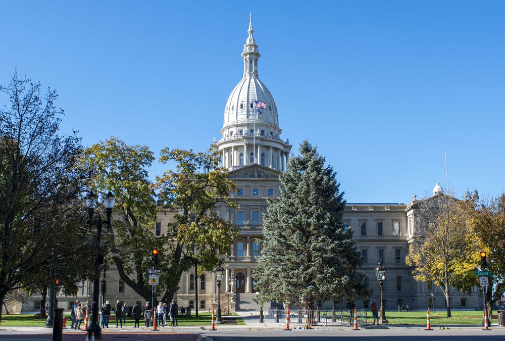 <p>The Lansing Capitol building is being monitored on Election Day to prevent possible protests from arising. Shot on Nov. 3, 2020.</p>