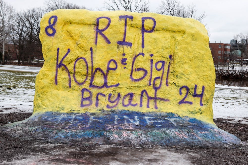 "<p>The Rock on Farm Lane reads ""RIP Kobe &amp; Gigi Bryant 24"" on Jan. 27.</p>"