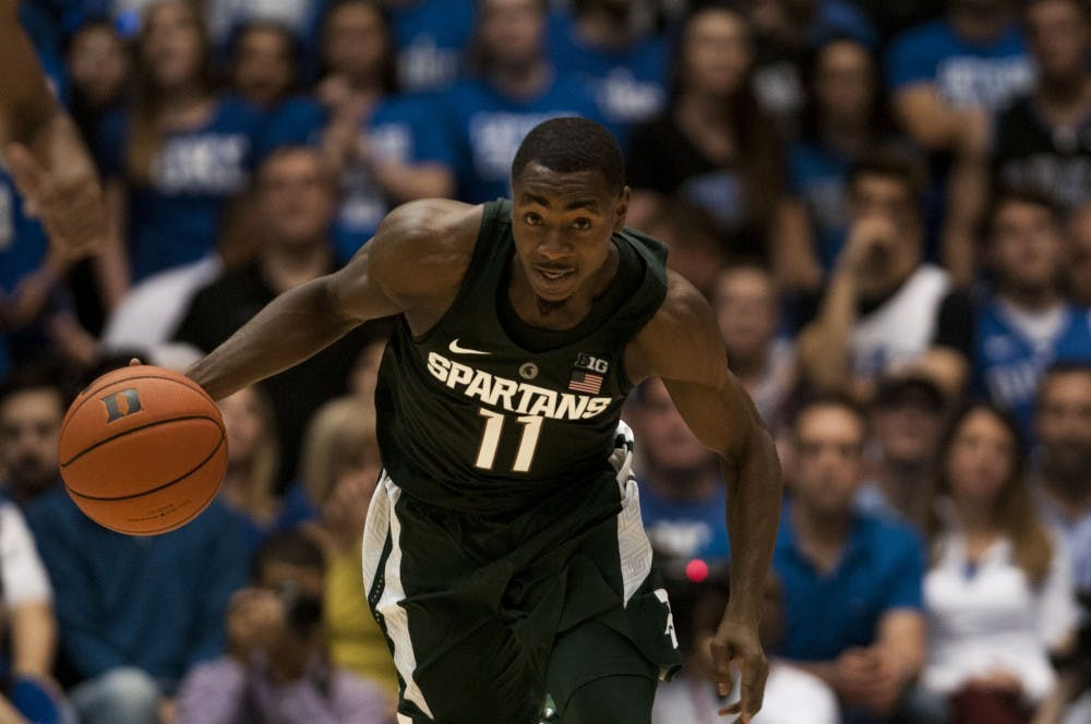 Junior guard Lourawls Nairn Jr. (11) dribbles the ball down the court during the second half of the game against Duke on Nov. 29, 2016 at Cameron Indoor Stadium in Durham, N.C. The Spartans were defeated by the Blue Devils, 69-78.