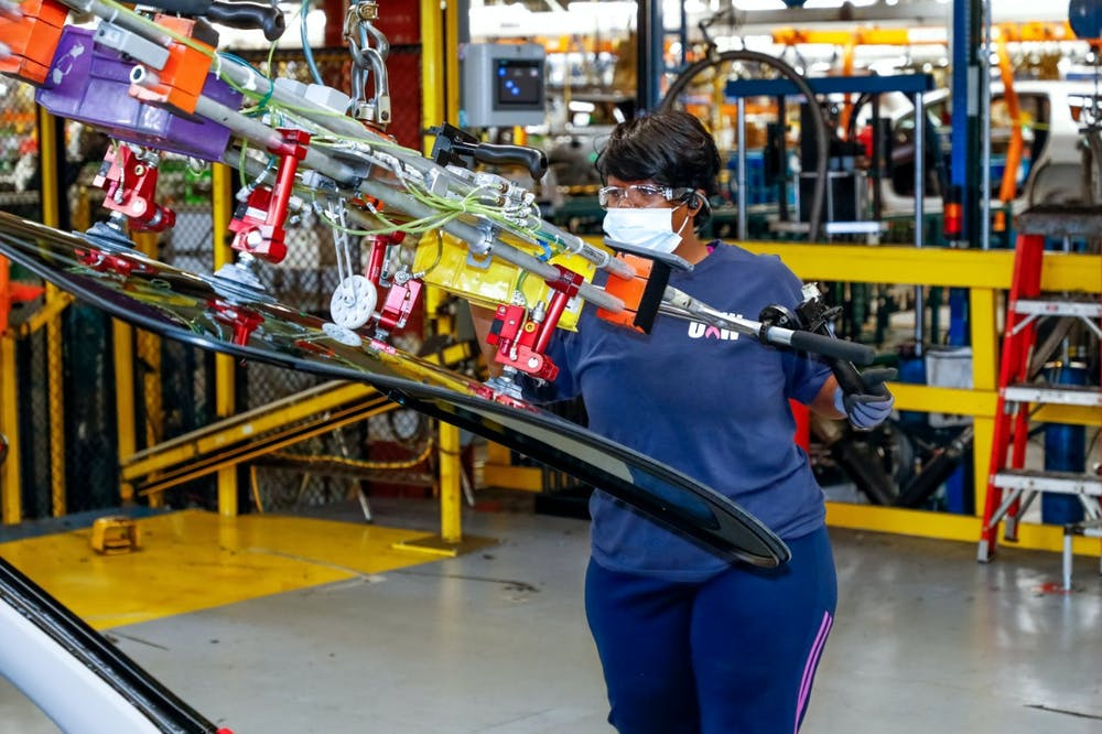 General Motors announces Tuesday, October 20, 2020 it will invest $2 billion in Spring Hill Manufacturing to build fully electric vehicles, including the all-new Cadillac LYRIQ. Through this investment, Spring Hill's paint and body shops will undergo major expansions and the general assembly will receive comprehensive upgrades, including new machines, conveyors, controls and tooling. (Photo by Wade Payne for General Motors)