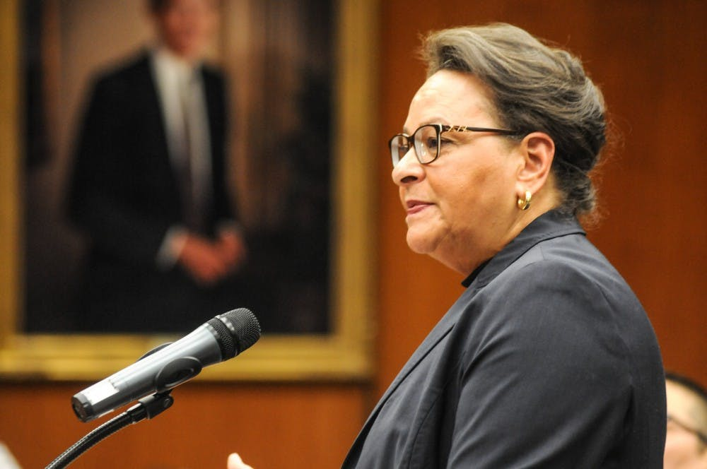 <p>Senior Adviser to the President for Diversity Paulette Granberry Russell speaks at the Board of Trustees meeting on April 12, 2019, at the Hannah Administration Building.</p>
