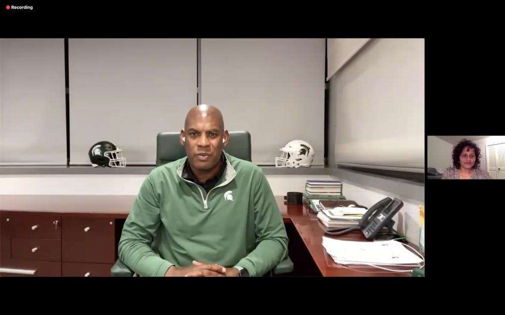 <p>MSU head football coach Mel Tucker spoke at the Virtual Voter Registration Rally on Sept. 22.</p>