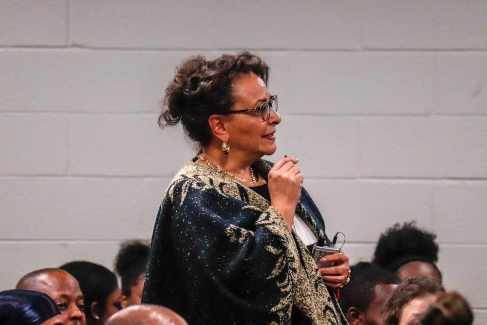 Executive Management Director for the Office of Inclusion and Intercultural Initiatives Paulette Russell speaks at a BSA Community Forum at Akers Hall on Oct. 22, 2019.